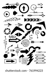 Arrows set 2. Hand drawn. Vector illustration.