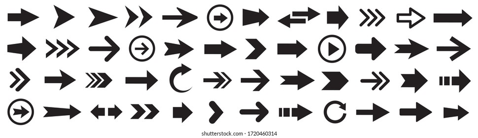 Arrows set. Arrow icon collection. Set different arrows or web design. Arrow flat style isolated on white background - stock vector.