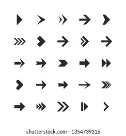 Arrows set. Arrow icons down direction up pointer sign next right left cursor black web interface navigation or website cursor flat, vector collection