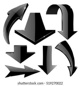 Arrows set. Black web icons. Vector illustration isolated on white background