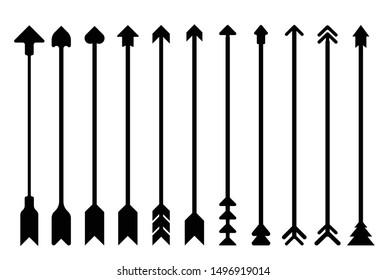 Arrows set, bow arrows vector