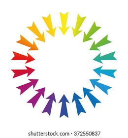 Arrows showing to center - rainbow colored - isolated vector illustration on white background.