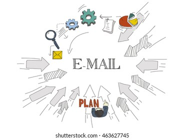 Arrows Showing E-MAIL