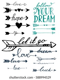 Arrows sketch set. Follow your dream. Vector isolated