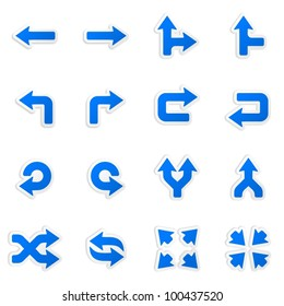 Arrows stickers. Vector icons set.