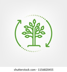 Arrows surrounding tree. Reforestation symbol. Vector line icon.