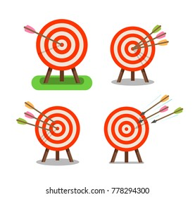 Arrows and target standing on tripod. Purpose, goal, accuracy icon. Vector illustration
