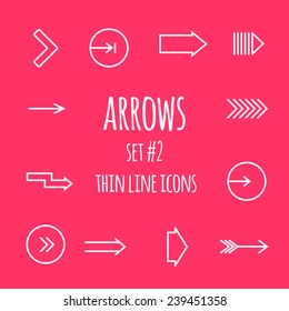 Arrows thin line icons.