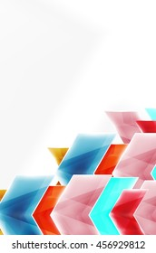 Arrows and triangles background. Vector web brochure, internet flyer, wallpaper or cover poster layout design. Geometric style, colorful realistic glossy arrow shapes with copyspace. Directional idea