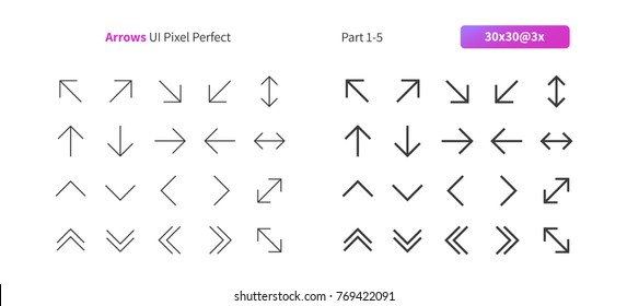 Arrows UI Pixel Perfect Well-crafted Vector Thin Line And Solid Icons 30 3x Grid for Web Graphics and Apps. Simple Minimal Pictogram Part 1-5