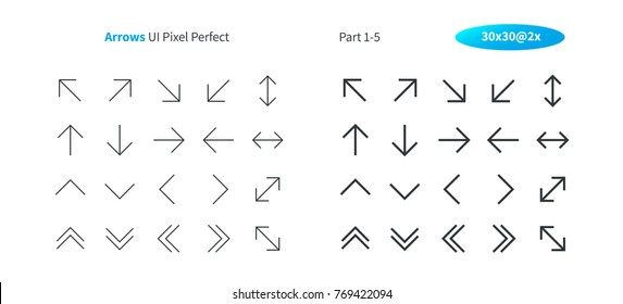 Arrows UI Pixel Perfect Well-crafted Vector Thin Line And Solid Icons 30 2x Grid for Web Graphics and Apps. Simple Minimal Pictogram Part 1-5
