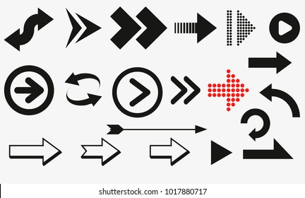 arrows vector collection black. Different black Arrows icons,vector set. Abstract elements for business infographic. Up and down trend.