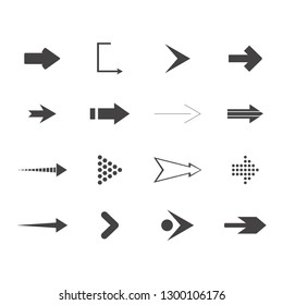 Arrows vector collection with elegant style and black color. 16 arow icons set. direction icons