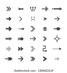 Arrows vector collection with elegant style and black color. 30 arow icons set. direction icons
