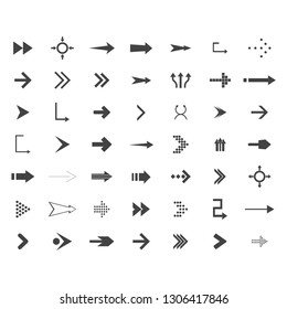 Arrows vector collection with elegant style and black color. 49 arow icons set. direction icons