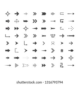 Arrows vector collection with elegant style and black color. 64 arow icons set. direction icons