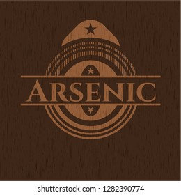 Arsenic badge with wood background