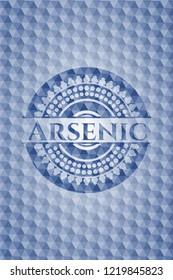 Arsenic blue emblem with geometric background.