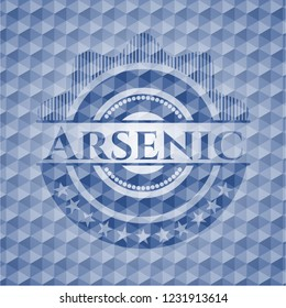 Arsenic blue polygonal emblem.
