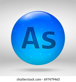 Arsenic - element of the periodic table. Vector 3D glossy drop pill capsule icon