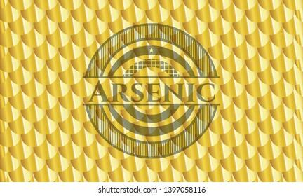 Arsenic gold emblem or badge. Scales pattern. Vector Illustration. Detailed.