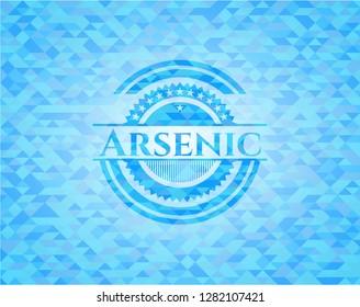 Arsenic light blue emblem. Mosaic background