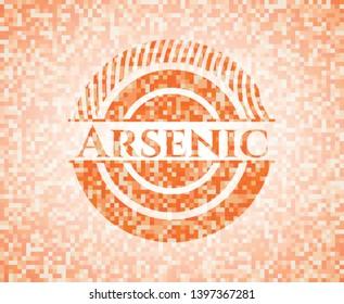 Arsenic orange mosaic emblem with background