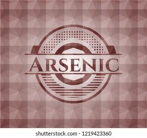 Arsenic red geometric badge.