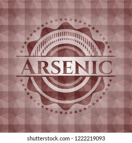Arsenic red seamless badge with geometric pattern background.