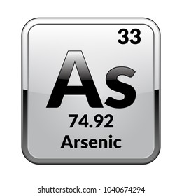 Arsenic symbol.Chemical element of the periodic table on a glossy white background in a silver frame.Vector illustration.