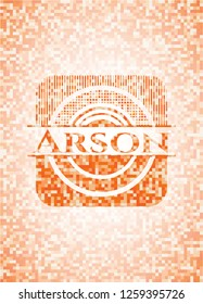Arson abstract orange mosaic emblem with background