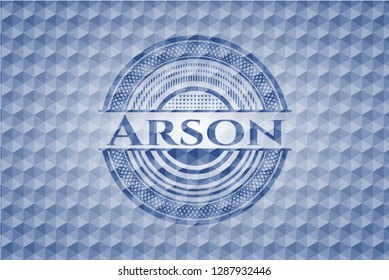 Arson blue badge with geometric background.