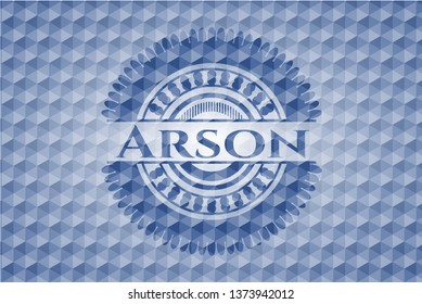 Arson blue badge with geometric pattern background.