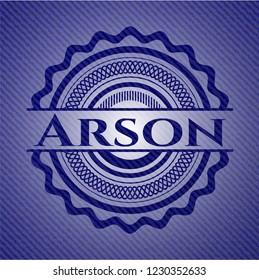 Arson emblem with denim texture