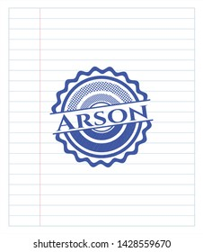 Arson emblem drawn with pen. Blue ink. Vector Illustration. Detailed.