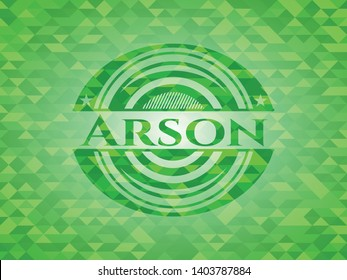 Arson green emblem with mosaic background. Vector Illustration. Detailed.