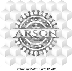 Arson grey badge with geometric cube white background