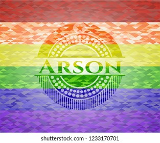 Arson on mosaic background with the colors of the LGBT flag