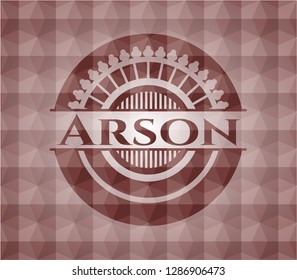 Arson red emblem with geometric pattern background. Seamless.