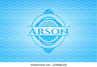 Arson water wave concept badge.