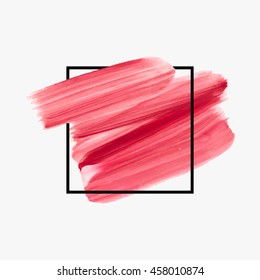 Art abstract background brush paint texture design acrylic stroke poster over square frame vector illustration. Perfect design for headline, logo and sale banner.