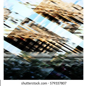 art abstract geometric pattern of pixels; Background in black, white, brown, gray color