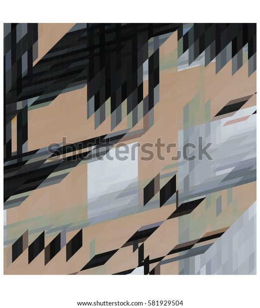 art abstract geometric pattern of pixels; Background in black, beige, gray colors