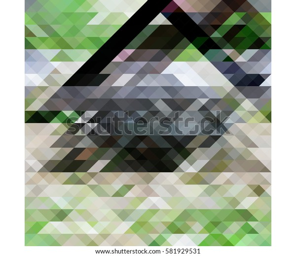 art abstract geometric pattern of pixels; Background in black, beige, gray, green colors