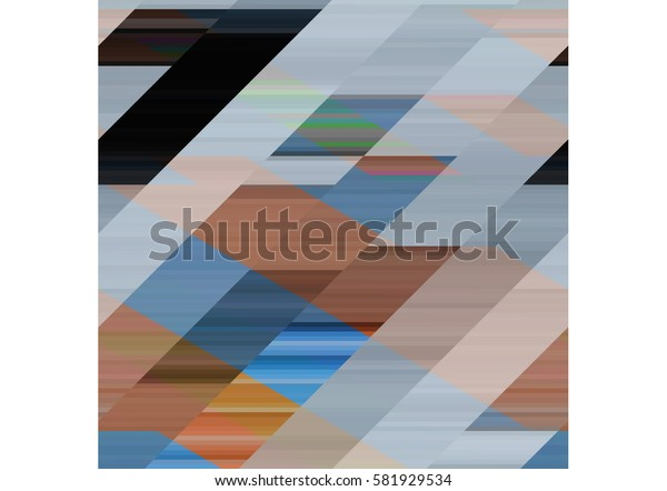 art abstract geometric pattern of pixels; Background in black, yellow, beige, blue, gray colors
