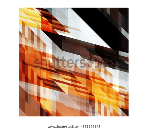 art abstract geometric pattern of pixels; Background in black, yellow, beige, gray colors