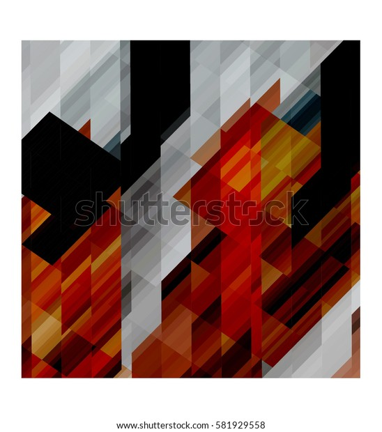 art abstract geometric pattern of pixels; Background in black, gray, red colors