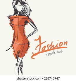Art Background With Beautiful Young Fashion Woman, Eps 10 Vector Illustration