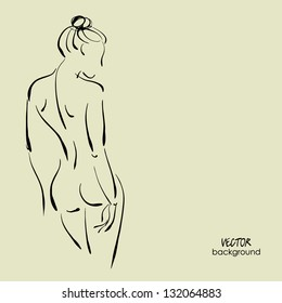 art background with beautiful young standing woman topless with her back, sketch vector