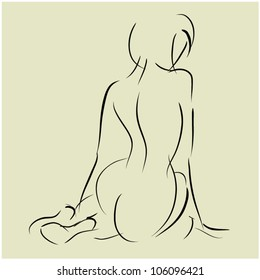art background with sitting beautiful young sexy woman topless with her back, sketch vector